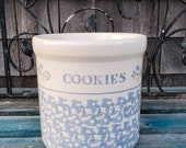 Vintage White Blue Crock Kitchen Canister by Santa Ana Crock Shop - Utensil Crock - Utensil Holder