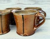 Rustic Pottery Mug Handmade Set of Four - Salt Glazed Ceramic Mugs