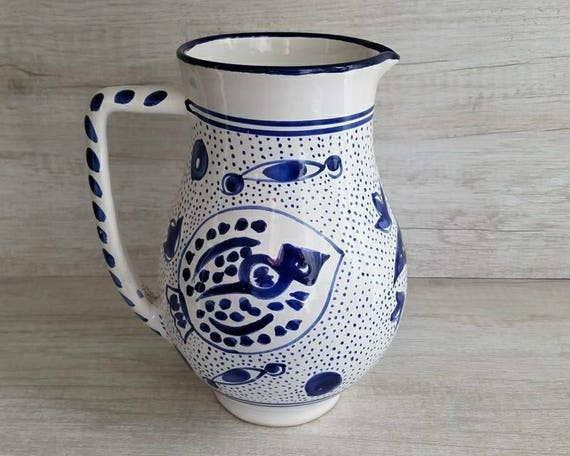 Ceramic Pitcher Vase Water Pitcher Blue And White Hand Etsy