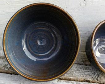 Ceramic Bowls - Nesting Bowls - Handmade Pottery - Blue Pottery - Coastal Decor - Rustic - Pottery Bowls