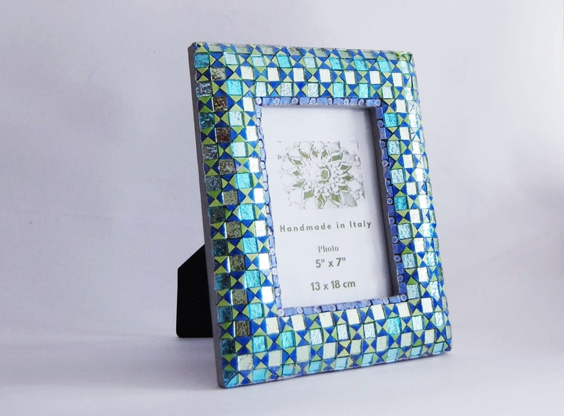 Blue frame 5x7 frame Mosaic photo frame Picture frame Handmade