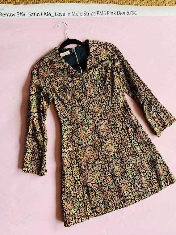 Vintage Velvet Metallic Mini Party Dress | Gucci S