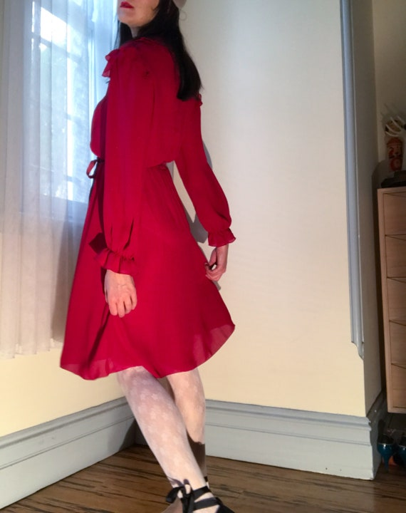 70s Raspberry Red Dress. Sexy Secretary. Peter Pan