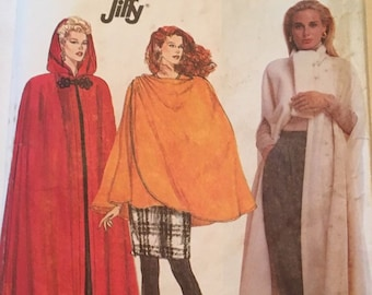 Vintage 1990's Simplicity 7016 Misses'/Miss Petite Unlined Cape in Two Lengths (XL Bust 44-46 ) W/WO Hood, and Wrap Cape in One Size