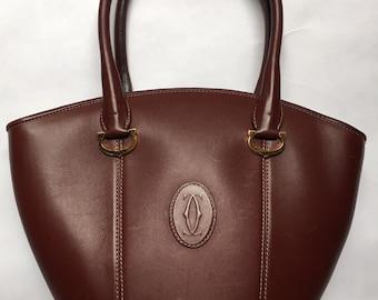 00398202aa6b Gorgeous Vintage Cartier Bordeaux Leather Top-Handle Handbag -  1980 s 1990 s - with authentication card as an original Must De Cartier