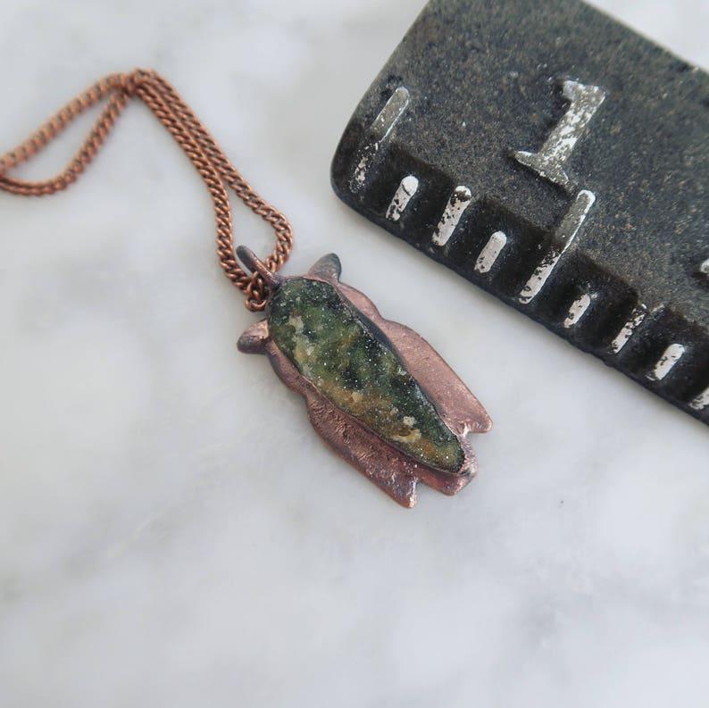 raw necklace organic jewelry Crystal necklace Druzy Green Chrome Chalcedony Owl Necklace