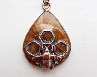 Heliodor Bee Talisman, Crystal Necklace, Copper Jewelry