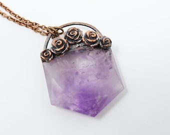 Amethyst Rose Necklace, organic jewelry, raw necklace, Crystal necklace