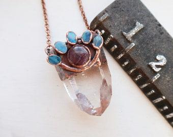 Opal, Amethyst, Quartz Talisman, Copper Jewelry