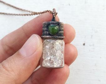 Tiny Diamond Quartz Electroformed Glass Bottle Necklace,  Green Jade Heart Cabochon, Electroformed bottle, copper bottle,