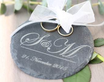 Personalized ring Cushion/Ring plate made of slate with initials and date