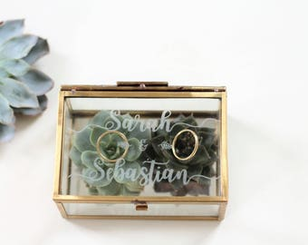 personalized RING BOX with engraving made of glass in gold | Wedding | Anniversary |