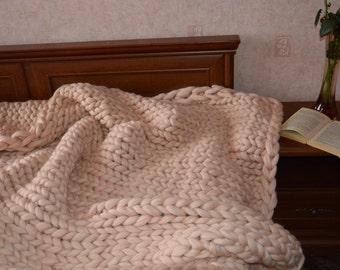 Giant Blanket, Chunky Blanket, Bulky Blanket, Wool Throw, Handmade Blanket, Merino Blanket ,Knitted Throw, Gift, FREE INTERNATIONAL SHIPPING