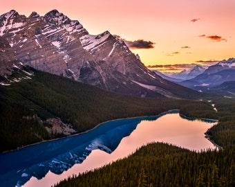 Peyto Lake, Fine Art Nature Scene, Canadian Rockies Photograph, Lake at Sunset Landscape Print, Original Mountain Landscape Photo Print