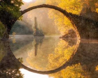 Dreaming of a Fairytale, Fine Art Print, Bridge Landscape Photograph, Nature Scene Art Print, Original Lake Landscape Photograph Print