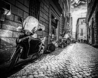 Alley B&W, Fine Art Print, Urban Photograph, City Scene Art Print, Original Rome Urban Photograph Print