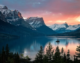 St. Mary's Lake, Fine Art Print, Nature Scene Art Print, Original Mountain Landscape Photograph Print, Montana, Sunset Mountains Lake