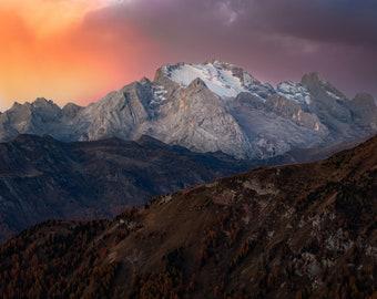 Italy, Alps, Dolomites, Fine Art Print, Nature Scene Art Print, Original Mountain Landscape Photograph Print, Sunrise, Sunset, Mountains