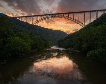 Bridge Photo ~ New River ~ Mountains ~ Mindfulness Gift ~ West Virginia ~ Cabin Decor
