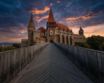 Corvin's Castle, Fine Art Print, Nature Scene Art Print, Original Castle Landscape Photograph Print, Romania, Sunset Photography