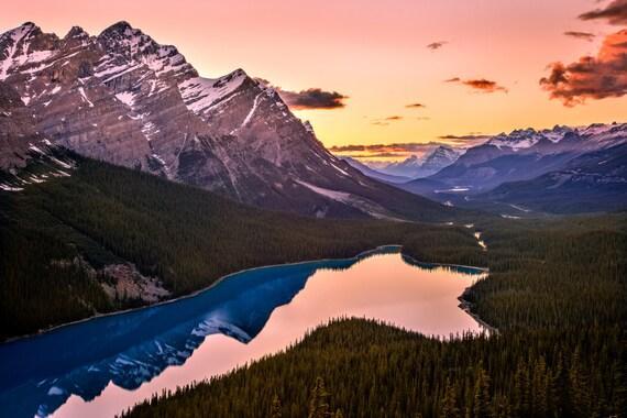 Peyto Lake Scena Artystyczna Przyroda Canadian Rockies Etsy