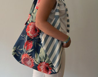 Brigitte* is a Big Slouchy Fabric Bag • Hobo Style • Convertible Bag in a Shoulder Bag, Sling Bag or a Backpack • Hidden Pocket • Casual Bag
