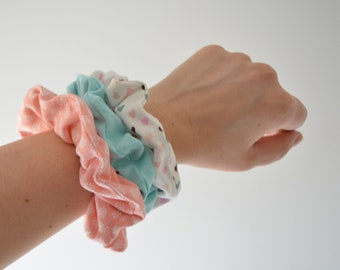 SCRUNCHIES • PACK of 3 • Handmade with cotton jersey fabric