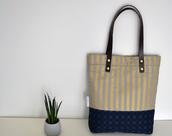 Padded tote bag. Made with Japanese fabrics. Handles made of real leather. Everyday tote. 15 inch laptop bag. Office work bag. Casual tote