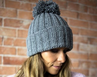 Hand Knit Hat, Alpaca, Wool, Chunky Knit Hat, Pom Pom, Knitting, Handknit, Winter hat, Winter Cap, CAP N3