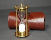 Vintage Sand Timer Brass With Leather Cover Wedding Love Kids Toy Birthday Return Gift Antique Sand Timer Hour Glass Charm Really Working