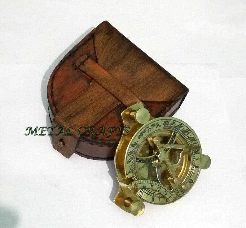 Brass Sundial Compass Marine Vintage Item With Wooden Box Antique 4 Inch Sundial Maritime