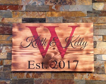 Personalized monogram sign- wedding gift- bridal shower gift- gift for anniversary- rustic home - rustic decor- rustic sign- personalized