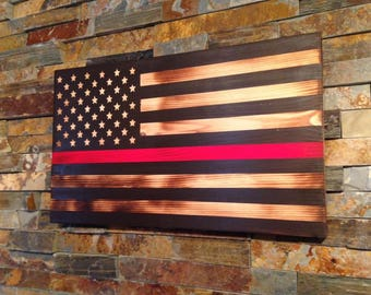 Rustic Flag -Wooden Flag - American Flag - flag with red line - fireman flag - firefighter gift - firefighter-fireman-firefighter graduation