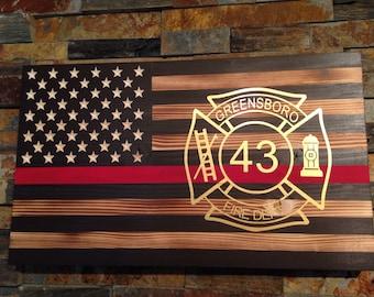 Rustic Flag -Wooden Flag - American Flag - flag with red line - fireman flag- firefighter gift - Vinyl Maltese cross -firefighter graduation