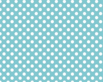 Riley Blake Small Dots, White on Aqua, fabric by the yard