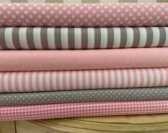 Riley Blake Baby Pink and Gray Fabric Bundle