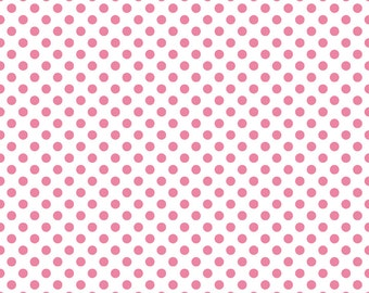 Riley Blake Small Dots, Hot Pink on White, fabric by the yard