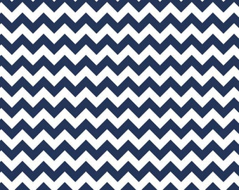 Riley Blake, Small Chevron, Navy and White, fabric by the yard