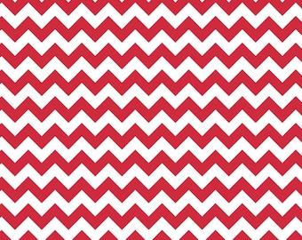 Riley Blake, Small Chevron, Red and White, fabric by the yard