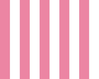 """Riley Blake 1"""" Wide Stripes, Hot Pink and White, fabric by the yard"""
