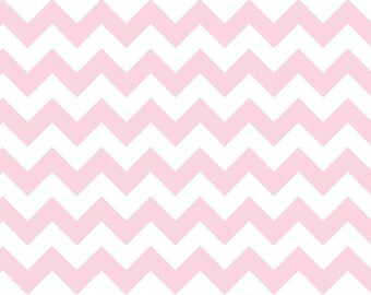 Riley Blake, Small Chevron, Baby Pink and White, fabric by the yard