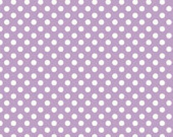 Riley Blake Small Dots, White on Lavender, fabric by the yard