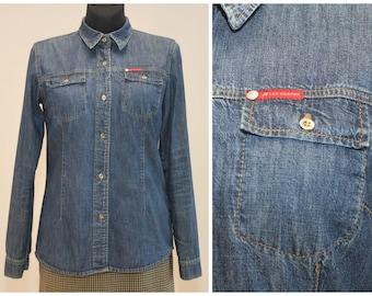 d191ebfe9df43 Lee Cooper Shirt Vintage 1990s Denim Top Button Up Shirt Vintage Cotton  Long Sleeve Shirt Size Medium
