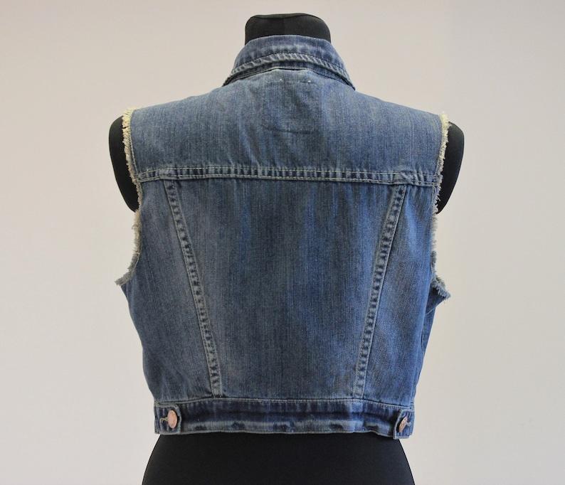 Women/'s Vest Denim Vest Blue Cotton Vest Jean Waistcoat Fitted Metal Buttons Country Western Boho Sleeveless Denim Jacket Size Extra Large