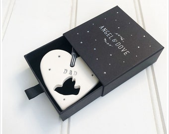Dad Remembrance Heart Hanging Decoration - A Thoughtful Sympathy Gift in Luxury Gift Box