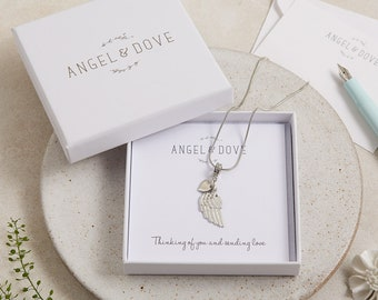 Pewter Angel's Wing 'Thinking of You'  Necklace with Gift Box, Bag and Card - Sympathy Gift, Memorial, Condolence, Baby Loss