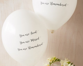 25 White 'You are Loved, Missed, Remembered' Funeral Remembrance Balloons. Biodegradable, Celebration of Life, Memorial