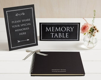 Medium A5 Luxury Black Memory Book & 2 Signs Set - Perfect for Funeral Condolence Book, Celebration of Life, Remembrance, Memorial