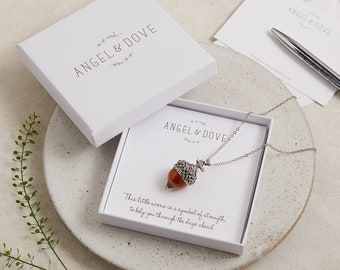 Amber Glass Acorn Necklace in Gift Box 'A symbol of strength to help you through the days ahead'. Remembrance Jewellery, Sympathy Gift