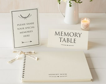 Large A4 Luxury Ivory Memory Book & 2 Signs Set - Perfect for Funeral Condolence Book, Celebration of Life, Remembrance, Memorial
